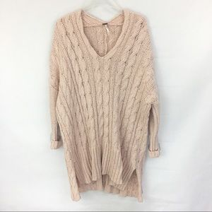 Free People Dusty Pink Oversized V-Neck Sweater